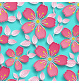 bright seamless pattern with 3d cherry blossom vector image