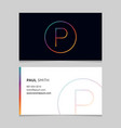 business-card-letter-p vector image vector image