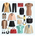 Businesswoman Clothes Icons vector image vector image