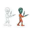cartoon image funny alien positive vector image vector image