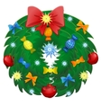 Christmas Wreath With Ribbons And Bow Isolated vector image vector image