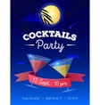 cocktails party poster with night beach vector image