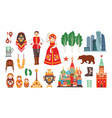 collection of russian national costumes vector image vector image