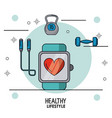 colorful poster of healthy lifestyle with clock vector image vector image
