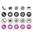contact icons information symbols set call home vector image vector image