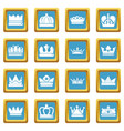 crown gold icons set sapphirine square vector image vector image
