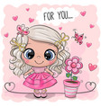 cute girl with flower on a pink background vector image
