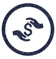 dollar care hands rounded grainy icon vector image vector image
