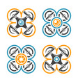 drones or quadrocopters set four colored icons vector image