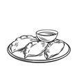 dumplings chinese cuisine outline icon vector image