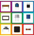 flat icon device set of cpu mainframe receptacle vector image