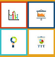 flat icon graph set of diagram easel chart and vector image vector image