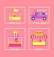 fresh juice and cotton candy vector image