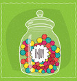 glass jar with colorful round candies inside vector image