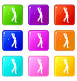 golf player icons 9 set vector image vector image