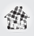 grayscale tartan icon - house with equalizer vector image vector image