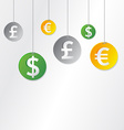 hanging currency signs vector image vector image