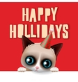 Happy holidays card with fun grumpy cat vector image vector image