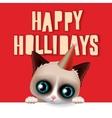 Happy holidays card with fun grumpy cat