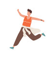happy man running for sale colorful scene male vector image