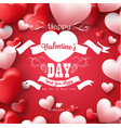 happy valentines day with red and pink heart vector image vector image
