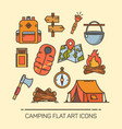 icons for summer camping tent compass life vest vector image