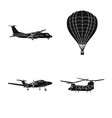 isolated object of plane and transport logo set vector image vector image