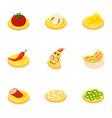 italian food icons set cartoon style vector image