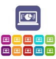laptop with business graph icons set vector image vector image