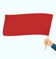 man are holding a red blank flag template banner vector image