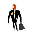 Mr trash from garbage bag boss apple core litter vector image