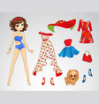 Paper Brunette Retro Doll vector image vector image