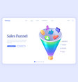 sales funnel isometric landing conversion rate vector image