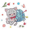 set kitten and a ball yarn for knitting hand vector image