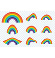 set of color rainbows on transparent background vector image