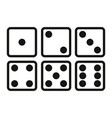 set of dice line icon on white background six vector image vector image