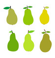 set of fresh pears on a white background vector image vector image