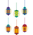 set of islamic lantern for holy month ramadan vector image