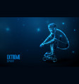 teen riding on a skateboard low polygon line vector image vector image