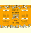 template restaurant menu with kitchenware and vector image