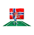 The flag of Norway at the back of the tennis vector image