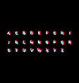 tiktok color isometric alphabet on black vector image vector image
