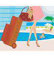 travel girl with baggage vector image vector image