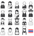 Various Thai People Occupation Character Icons Set vector image