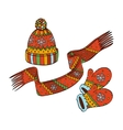Winter hat mittens and scarf vector image