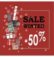 Winter sale background with white and black vector image vector image