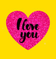 yellow pink i love you vector image vector image