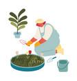 young woman gardener or florist working in vector image