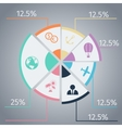 Travel infographic template pie chart vector image