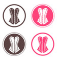 Four round logo with corsets vector image